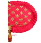 Red Punjabi Pakhi Sequins Embroidered Hand Fan T0268