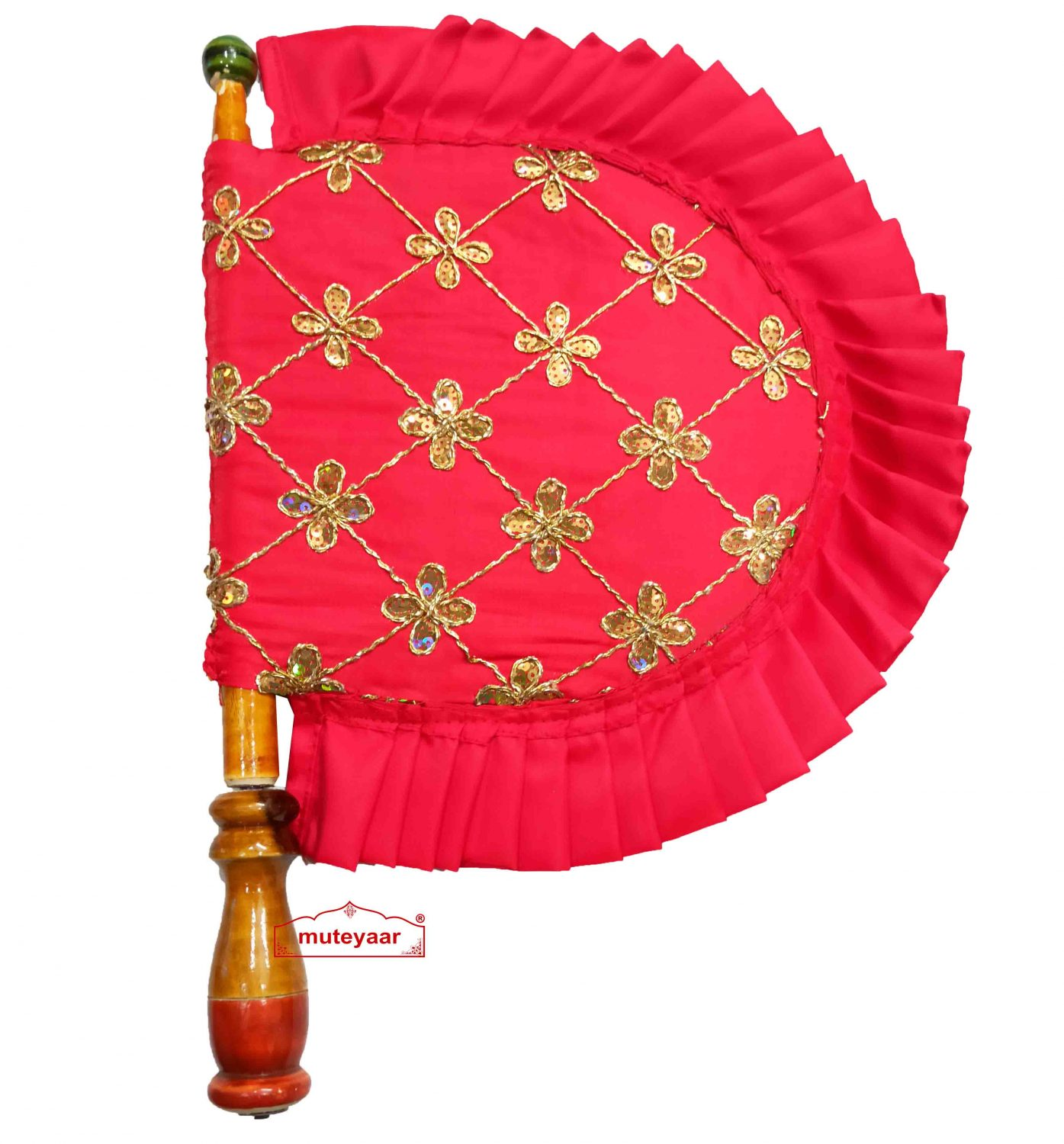 Red Punjabi Pakhi Sequins Embroidered Hand Fan T0268 1