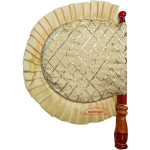 Cream Colour Punjabi Pakhi Gota Patti Hand Fan T0269