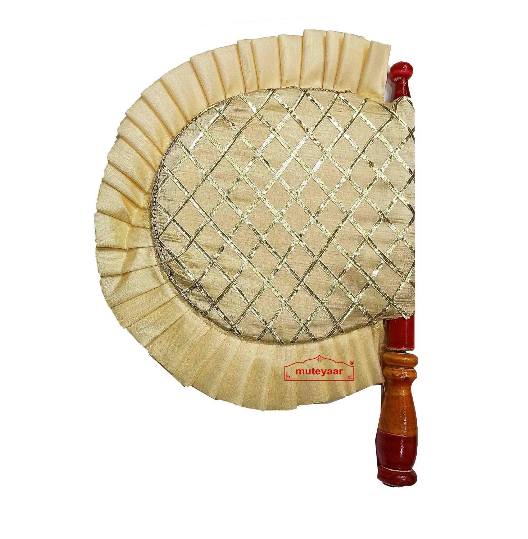Cream Colour Punjabi Pakhi Gota Patti Hand Fan T0269 1