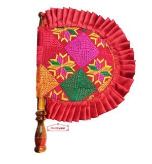 Phulkari Embroidered Pakhi Punjabi Hand Fan T0270