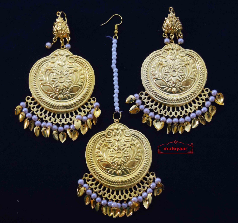 Traditional Punjabi Earrings Tikka Set J0495 1