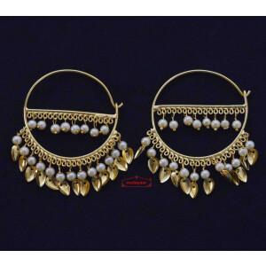 Golden Patti Moti Bali Earrings J0559