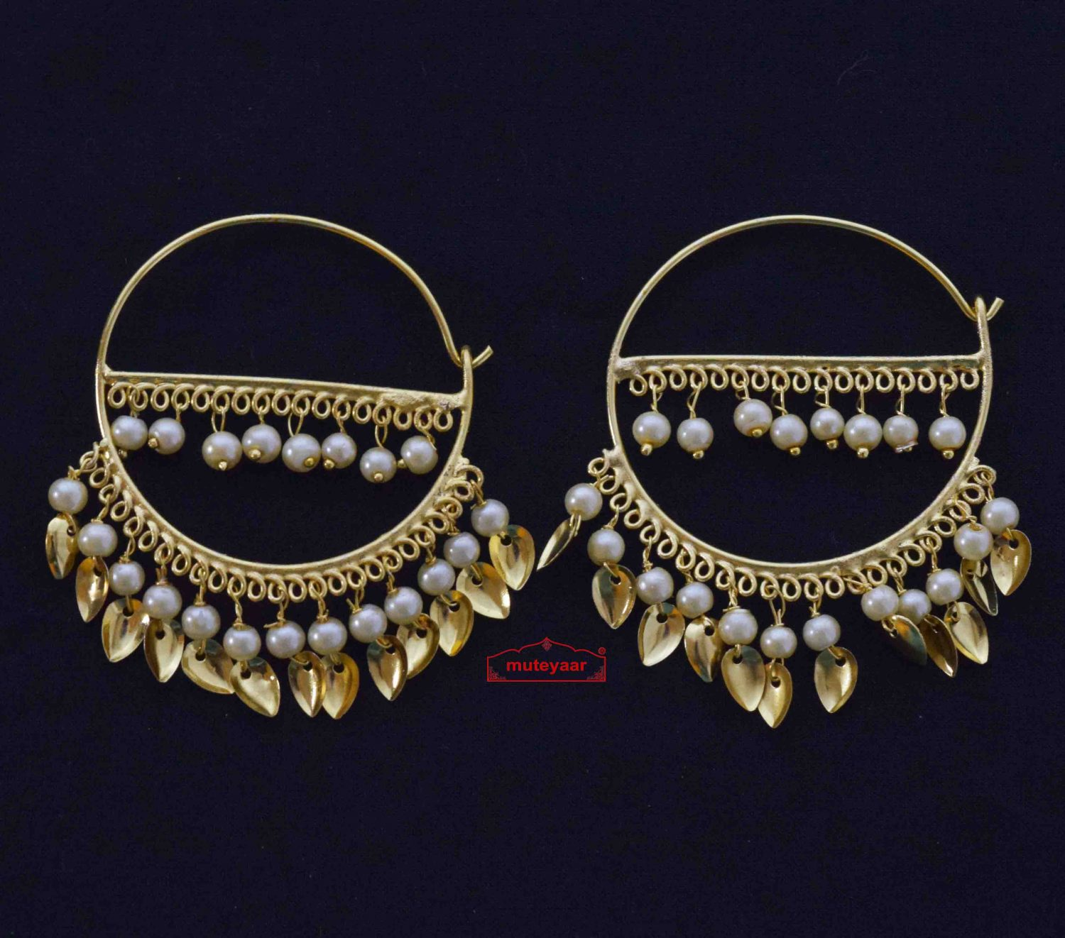 Golden Patti Moti Bali Earrings J0559 1