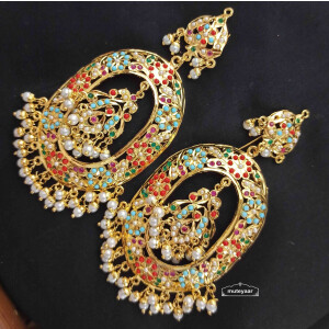 Jadau Earrings Oval Design with Real Gold Plating J2001