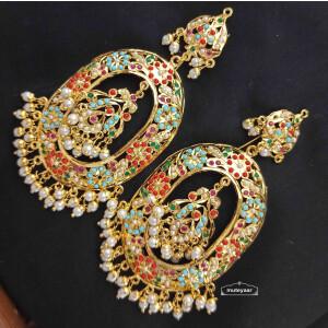 Gold Plated Oval Jadau Earrings J2001