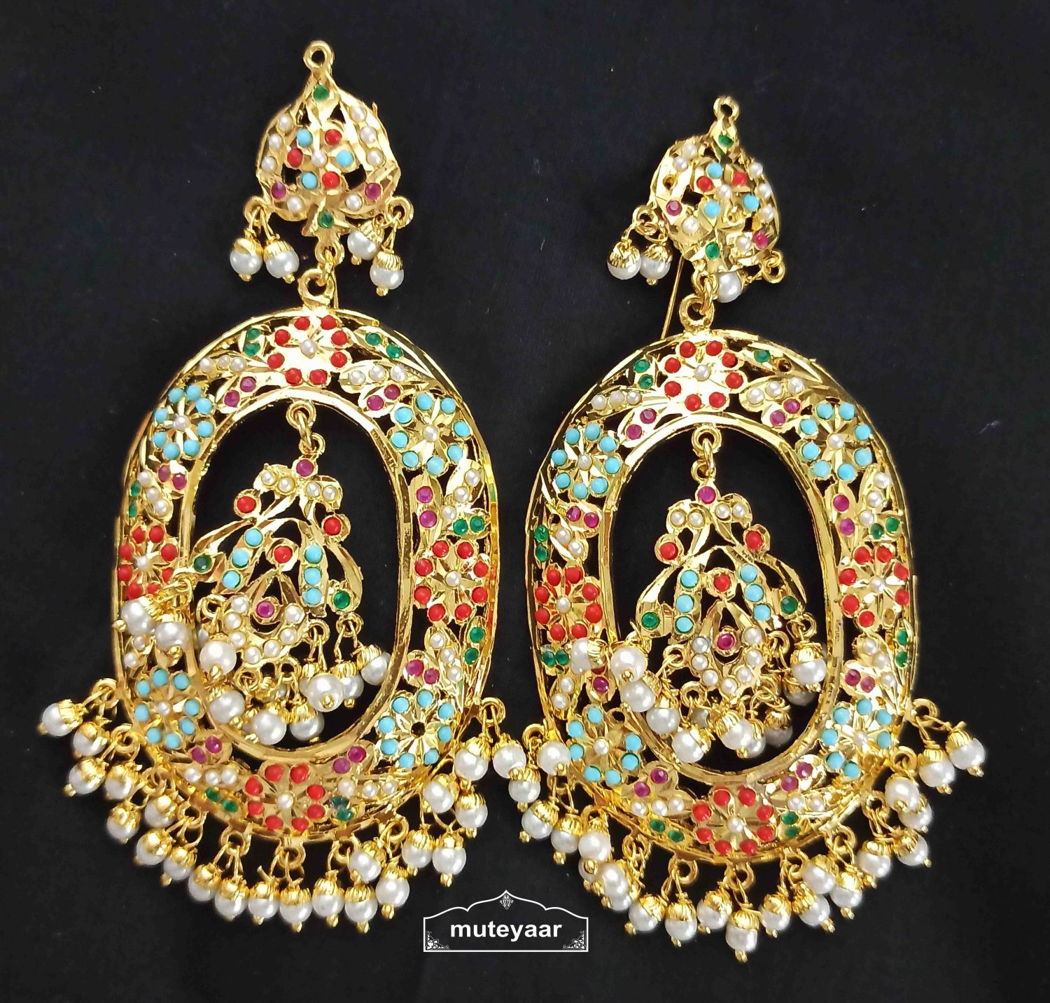 Jadau Earrings Oval Design with Real Gold Plating J2001 2