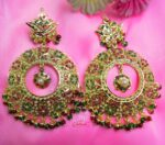 Real Gold Plated Big Jadau Earrings with multicolour stones J2002