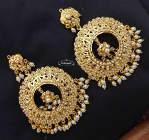 Real Gold Plated Round Jadau Earrings with White Beads J2003