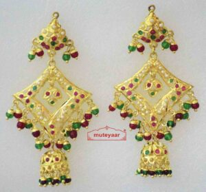 Real Gold Plated Jadau Brij Bali with Red Green Beads J2004