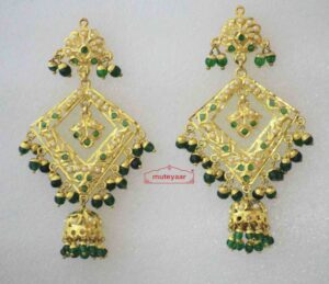 Gold Plated Jadau Brij Bali with Green Beads J2006