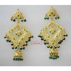 Gold Plated Jadau Brij Bali with Green Beads J2006