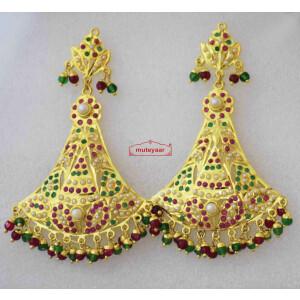 Triangular Jadau Earrings with Real Gold Plating J2007