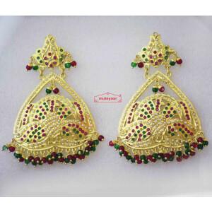 Gold Plated Triangle Design Jadau Earrings J2008