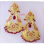 Pear Shape Jadau Earrings with Real Gold Plating J2009