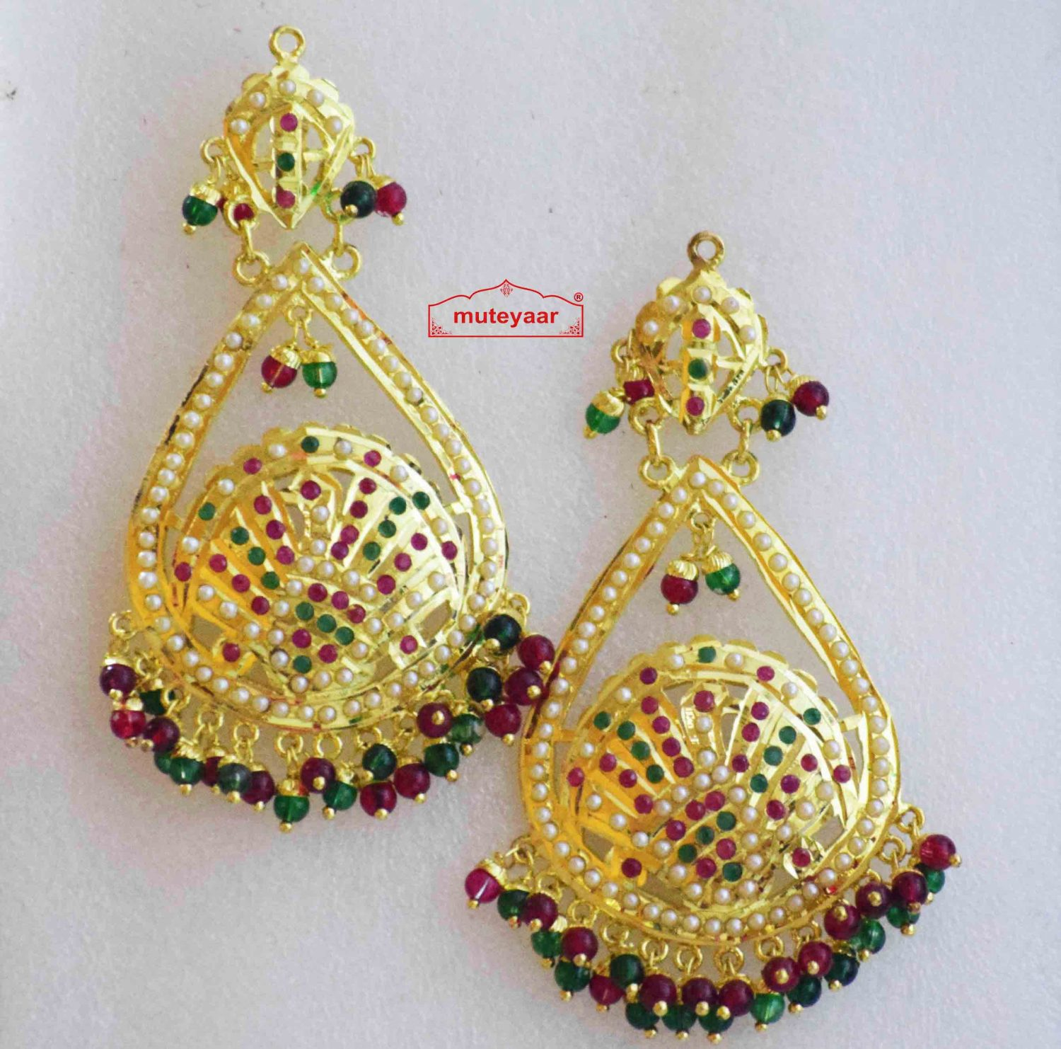 Gold Plated Jadau Earrings with Red Green Beads J2011 1