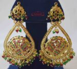 Gold Plated Jadau Earrings with Red Green Beads J2011