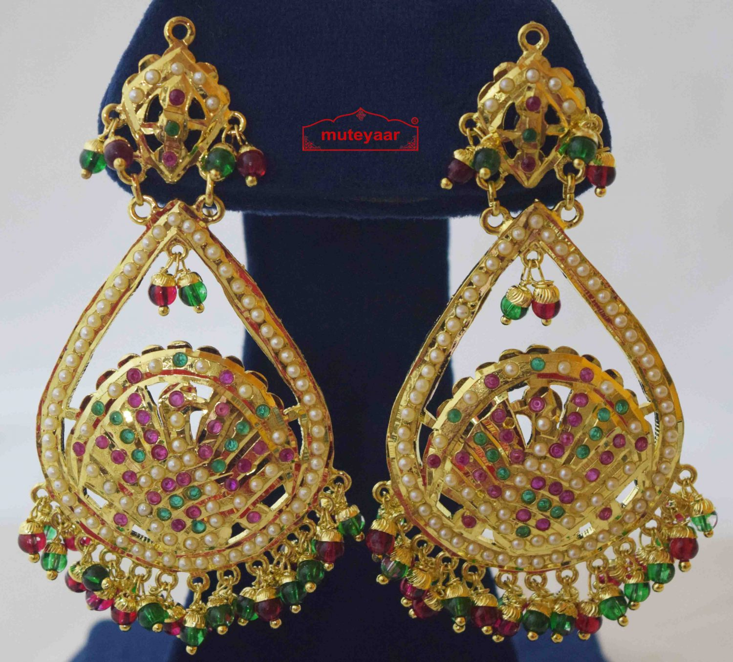 Gold Plated Jadau Earrings with Red Green Beads J2011 2