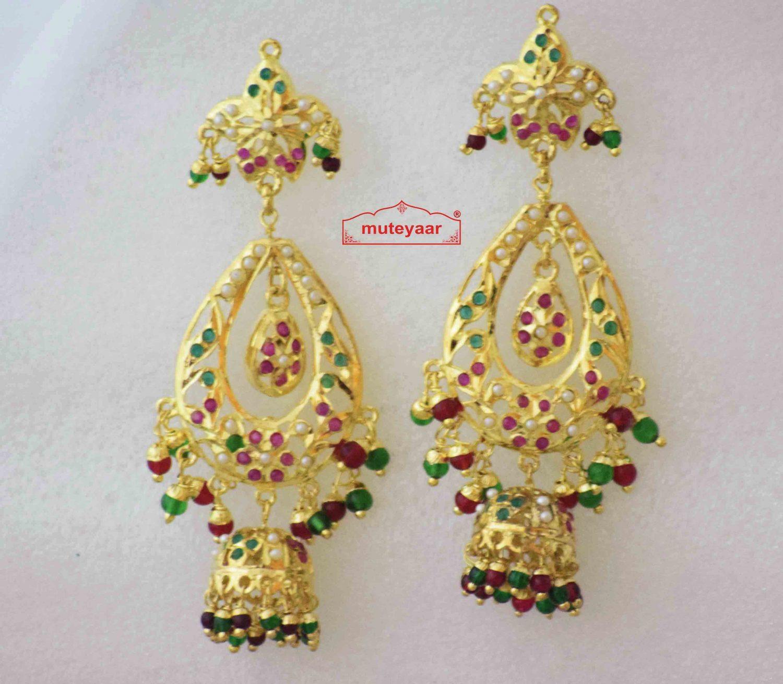 Cute Jadau Jhumki Earrings with Gold Plating J2012 1