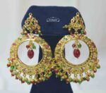 Jadau Bali Earrings with multicolour Stones J2013