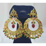 Jadau Bali Earrings with multicolour Stones J2013