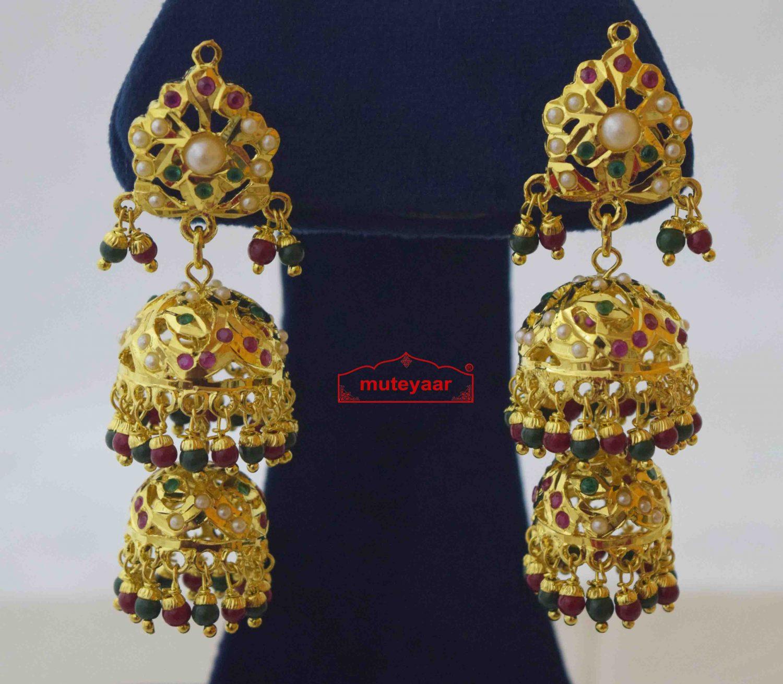 Jadau Jhumki Real Gold Plated Earrings J2014 1