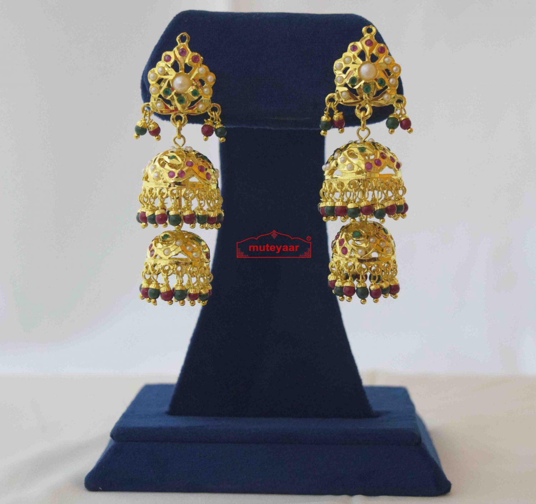 Jadau Jhumki Real Gold Plated Earrings J2014 2