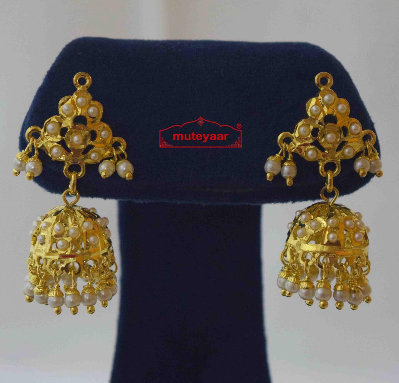 Small Jadau Jhumki Gold Plated Earrings J2015 1