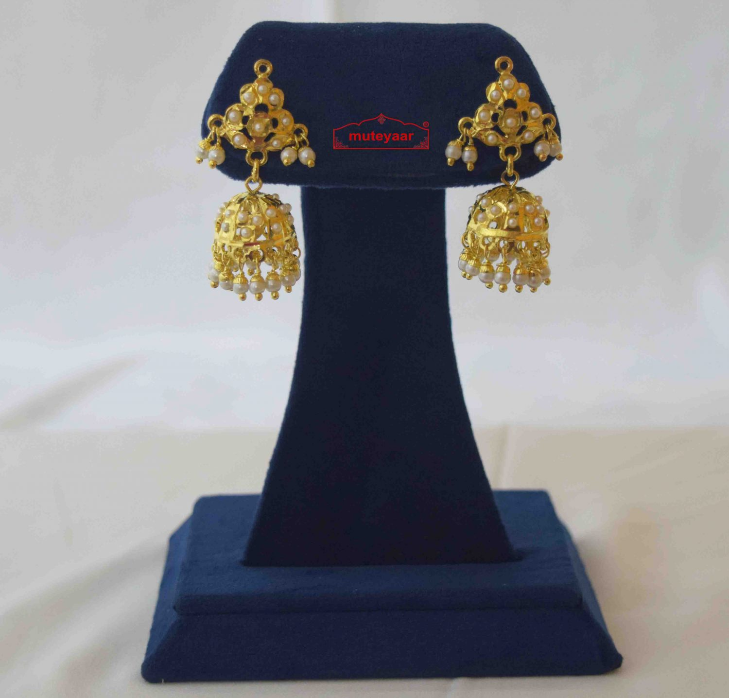 Small Jadau Jhumki Gold Plated Earrings J2015 2