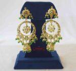 Long Jadau Jhumki Emerald Gold Plated Earrings J2017