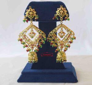 Brij Bali Jadau Jhumki Real Gold Plated Earrings J2018