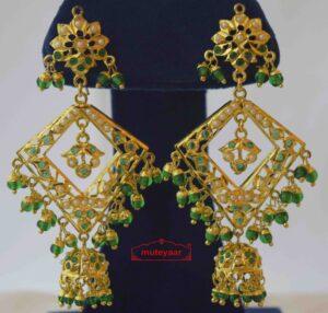 Emerald Green Brij Bali Jadau Jhumki J2019