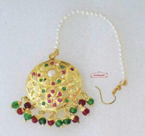 Jadau Tikka Maang Teeka with Gold Plating J3001