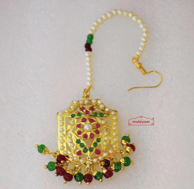 Real Gold Plated Jadau Mang Teeka J3003 1
