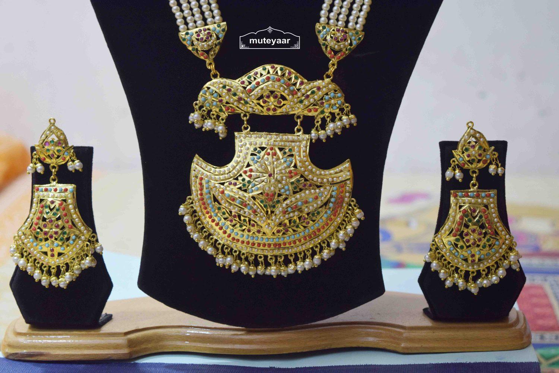 Long Jadau Necklace Set Ranihaar Gold Plated Jewellery J4001 2