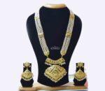 Long Jadau Ranihaar Necklace Set With White Moti J4002