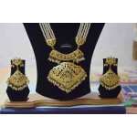Long Jadau Ranihaar Necklace Set With White Moti J4002