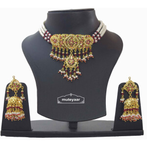 Jadau Guluband Choker Set with Ruby Stones J4003