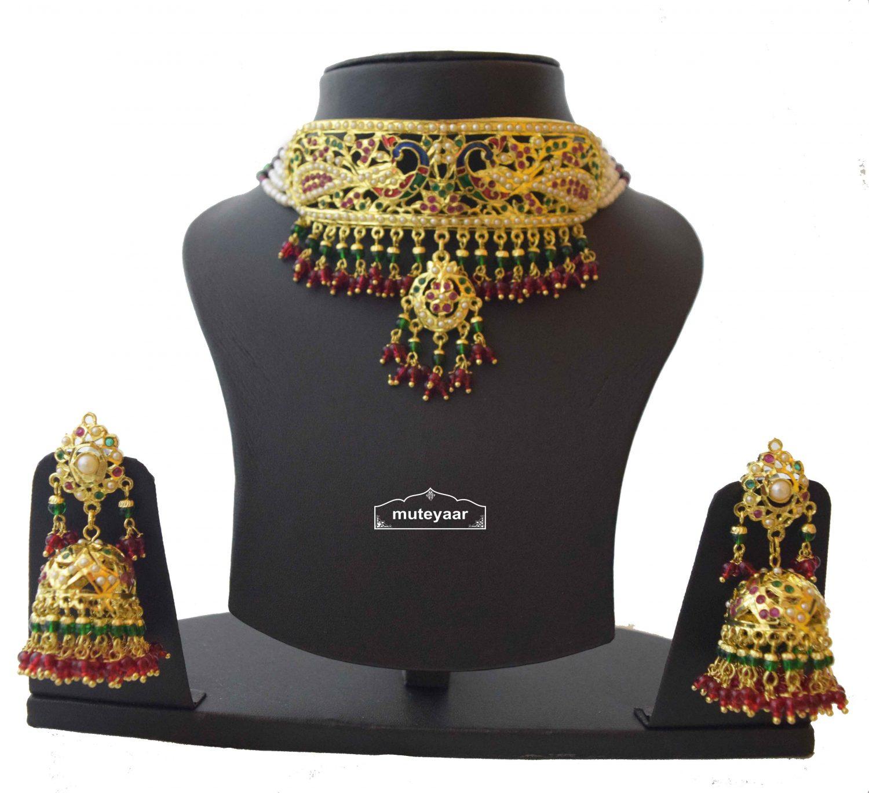 Multicolor Minakari Jadau Guluband Choker Set J4004 1