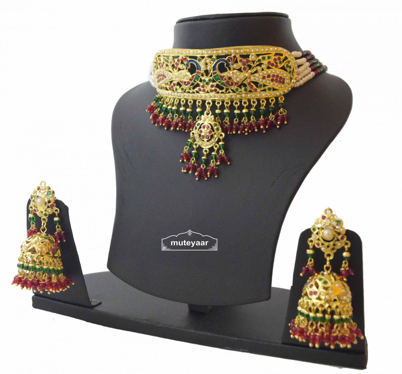 Multicolor Minakari Jadau Guluband Choker Set J4004 3