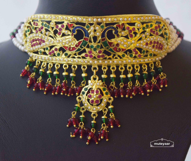 Multicolor Minakari Jadau Guluband Choker Set J4004 2