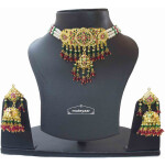 Multicolour Jadau Choker Set with Real Gold Plating J4005