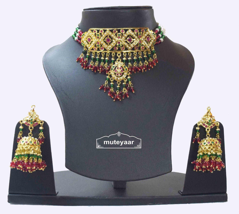 Multicolour Jadau Gulband Set with Ruby Emerald J4006 2