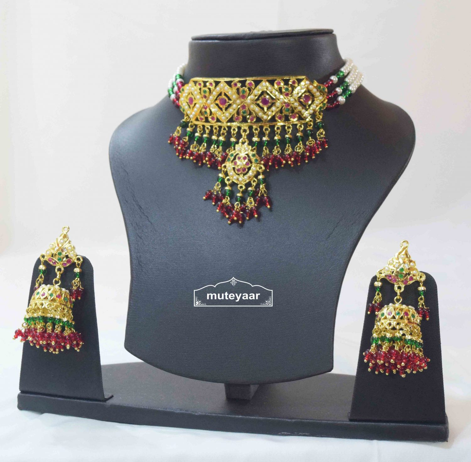 Multicolour Jadau Gulband Set with Ruby Emerald J4006 1