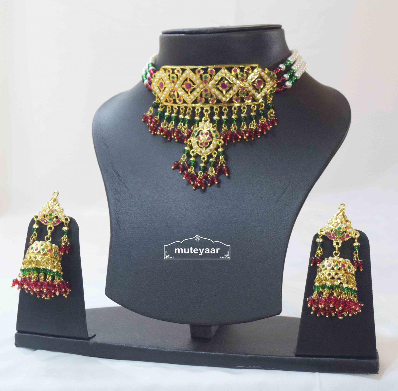Multicolour Jadau Gulband Set with Ruby Emerald J4006 1
