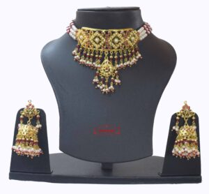 Gold Plated Jadau Choker Gulband Set J4008