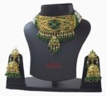 Gold Plated Emerald Jadau Gulband Set J4009