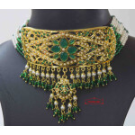 Gold Plated Emerald Jadau Gulband Set J4009