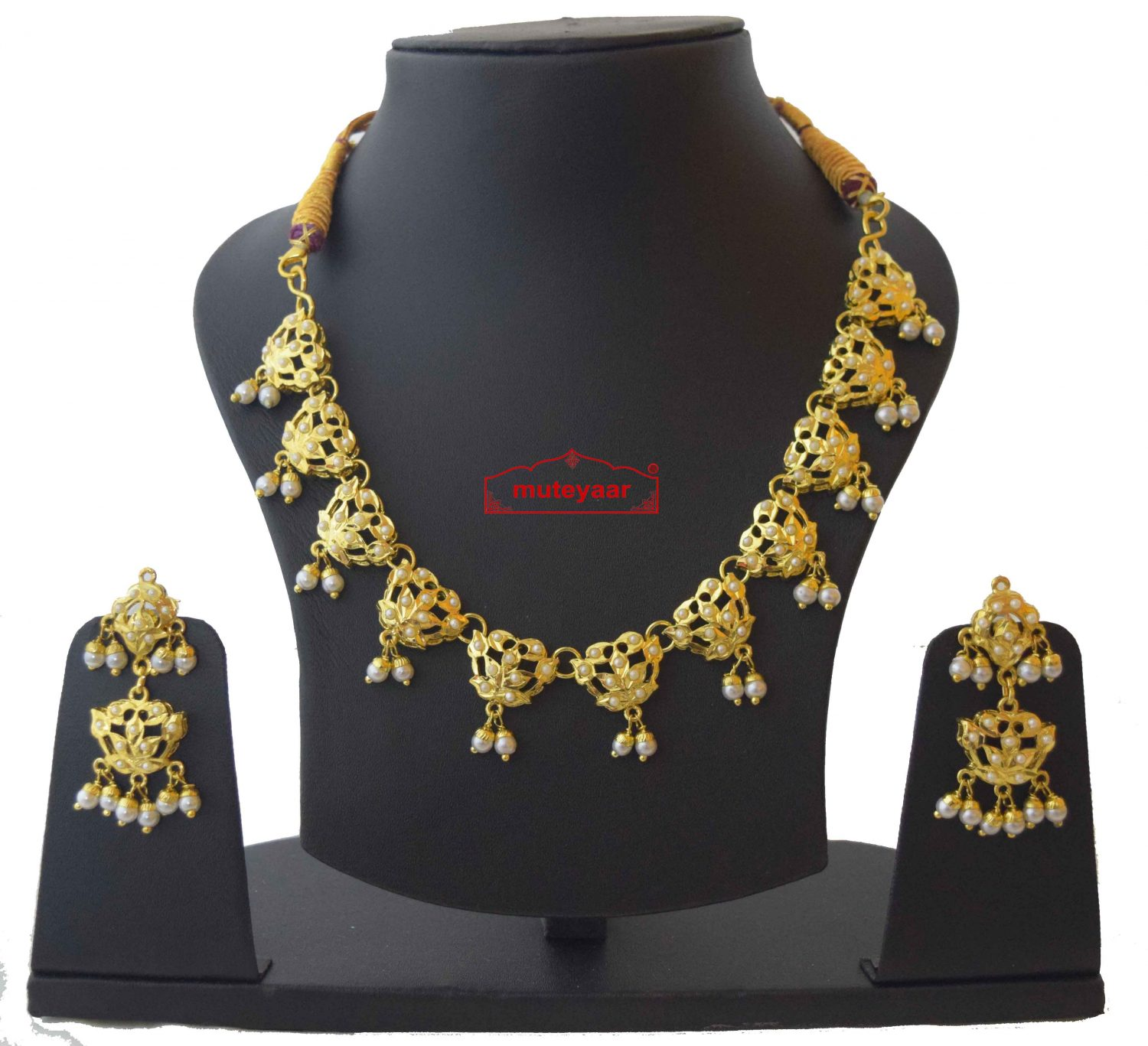 White Jadau Real Gold Plated Necklace Set J4010 1