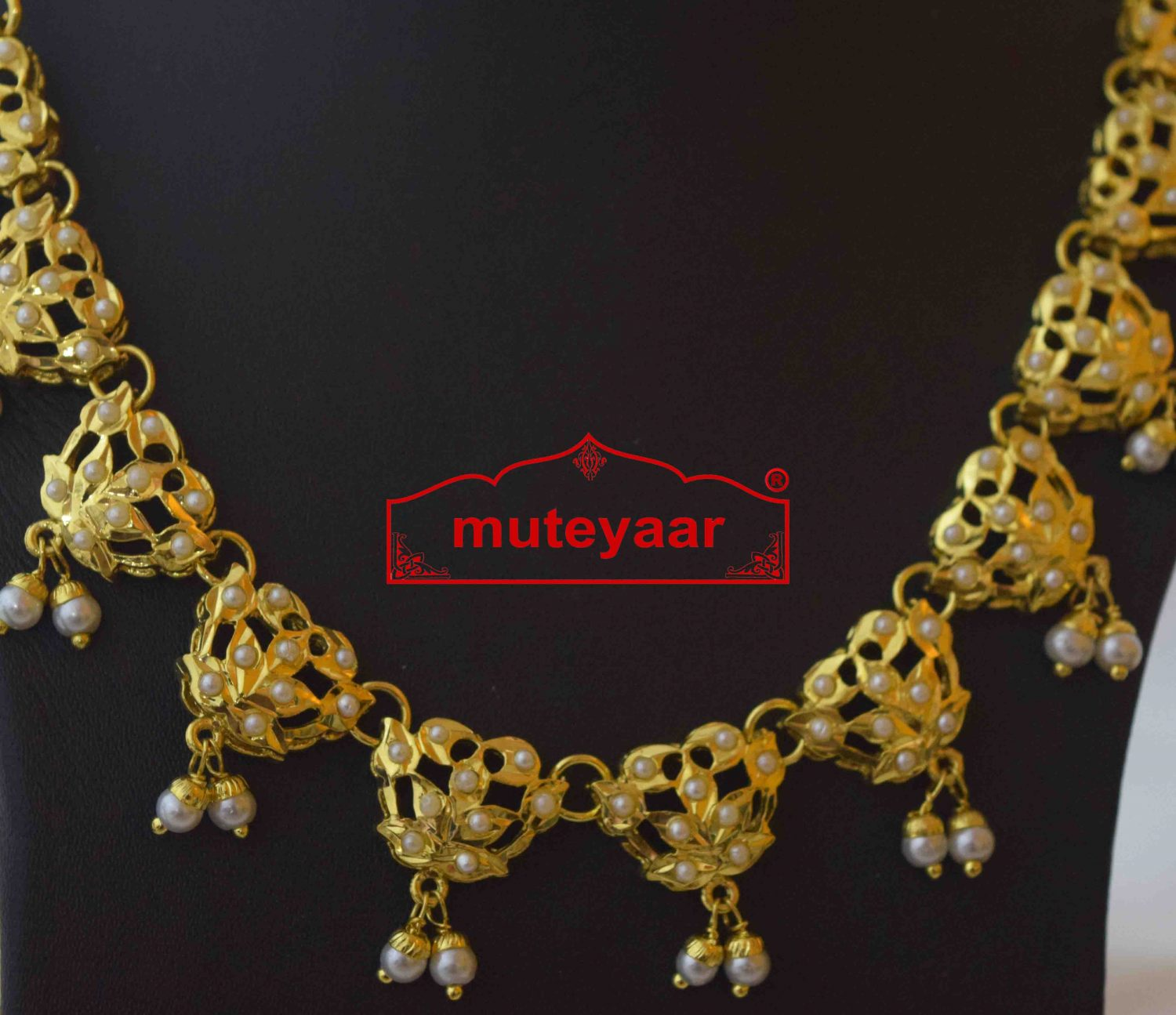 White Jadau Real Gold Plated Necklace Set J4010 2